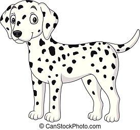 mignon, isolé, chien, fond, blanc, dalmatien, dessin animé