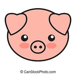 mignon, isolé, cochon, animal, tendre, icône