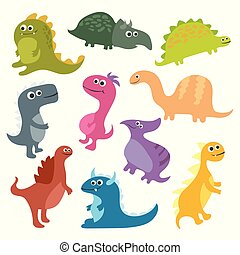 mignon, isolé, dinosaures, vecteur, fond, blanc, dessin animé