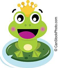 mignon, isolé, grenouille, blanc, prince, surpris