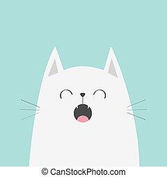 mignon, isolated., character., conception, figure, chant, style., kawaii, rigolote, song., silhouette, card., chouchou, arrière-plan., animal., blanc, tête plate, bleu, bébé, meowing, dessin animé, collection., chat