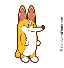 mignon, isolated., chien, illustration, chouchou, vecteur, petit, corgi, dessin animé