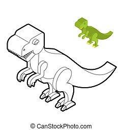 mignon, isométrique, coloration, monstre, jurassique, tyrannosaurus, period., prédateur, book., dino., dinosaure, préhistorique, reptiles, animal, ancien, t-rex, style., linéaire
