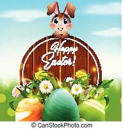 mignon, jardin, coloré, bois, oeufs, signe, lapin pâques