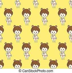 mignon, -, jaune, maillot de bain, fond, dorlotez fille