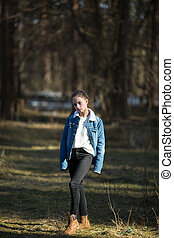 mignon, jean, jacket., eleven-year-old, poser, girl