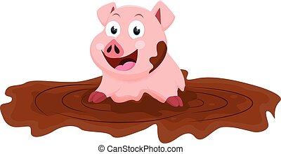 mignon, jeu, boue, dessin animé, cochon