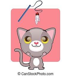 mignon, jeu, chaton gris, désireux