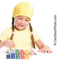mignon, jeu, enfant, peintures