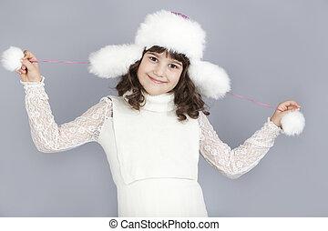 mignon, jeu, hiver, girl, chapeau, heureux