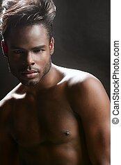 mignon, jeune, américain, noir, africaine, portrait, homme