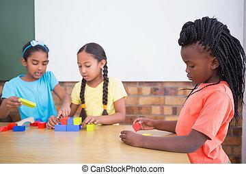 mignon, jouer, bâtiment, élèves