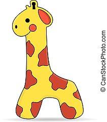 mignon, -, jouet, girafe, vecteur