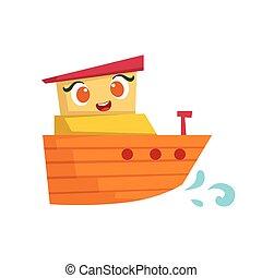 mignon, jouet, girly, bateau, bois, type caractère jaune, orange, illustration, petit, bateau, dessin animé