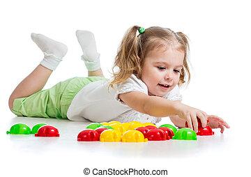 mignon, jouet, jouer, mosaïque, enfant