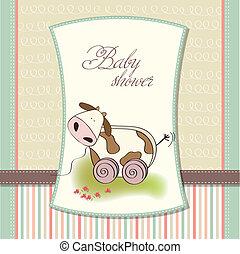 mignon, jouet, vache, douche, bébé, carte
