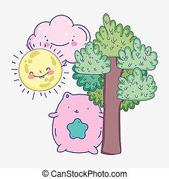 mignon, jour arbre, dessin animé, rose, ensoleillé, chat, étoile