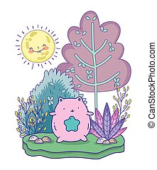 mignon, jour arbre, feuillage, rose, ensoleillé, chat, étoile