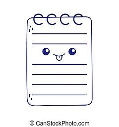 mignon, kawaii, isolé, bloc-notes, icône, dessin animé, bureau