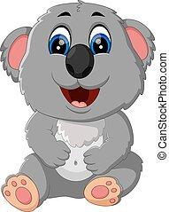 mignon, koala, dessin animé