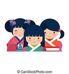 mignon, kokeshi, poupées