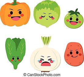 mignon, légumes, heureux