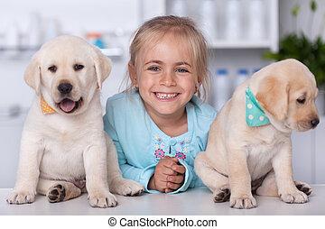 mignon, labrador, elle, vétérinaire, girl, chiot, adorable, chiens