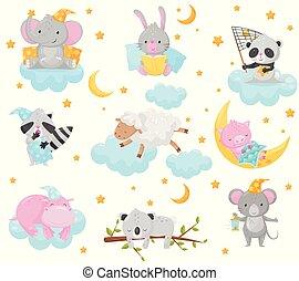mignon, lapin, mouton, doux, nuages, dormir, conception, raton laveur, élément, peu, ensemble, ciel, sous, agréable, hippopotame, bon, panda, illustration, éléphant, rêves, porcelet, animaux, étoilé, vecteur, nuit