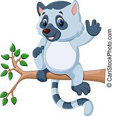 mignon, lemur, dessin animé