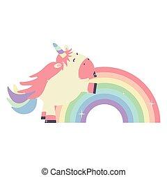 mignon, licorne, adorable, arc-en-ciel