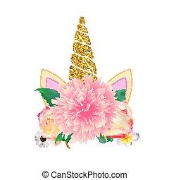 mignon, licorne, tête, à, flower., vecteur, illustration