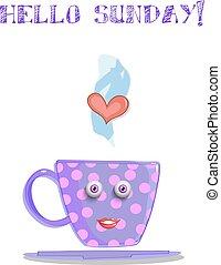 mignon, lilas, tasse, texte, dessin animé, dimanche, sourire, bonjour
