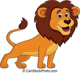 mignon, lion, dessin animé
