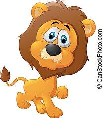 mignon, lion, dessin animé, marche