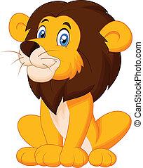 mignon, lion, dessin animé, séance