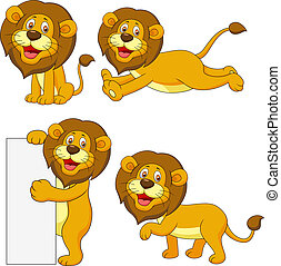 mignon, lion, ensemble, dessin animé
