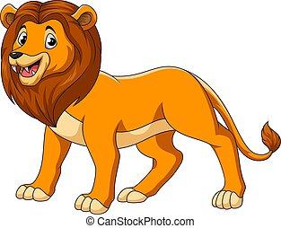mignon, lion, fond blanc, dessin animé