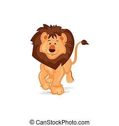 mignon, lion, marche