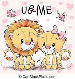 mignon, lions, deux, fond, cœurs