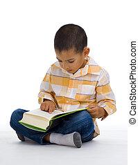 mignon, livre lecture, garçon