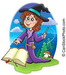 mignon, livre, sorcière, baguette