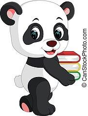 mignon, livres, panda, tenue