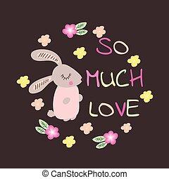 mignon, love., typographie, beaucoup, ainsi, rabbit.