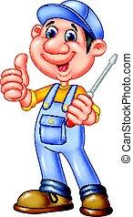 mignon, mécanicien, donner, tournevis, haut, pouces, tenue, dessin animé