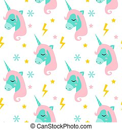 mignon, magie, illustration., licorne, conte fées, moderne, pattern., seamless, magique, backdrops., vecteur, backgrounds., bébé, répéter, textures, interminable