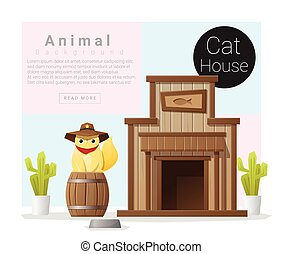 mignon, maison, collection, chat, 2, animal