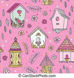 mignon, maison, -, seamless, vecteur, modèle fond, oiseau