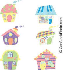 mignon, maisons, icônes