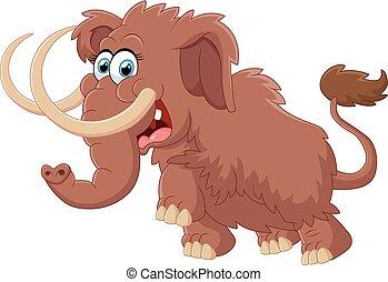 mignon, mammouth, dessin animé