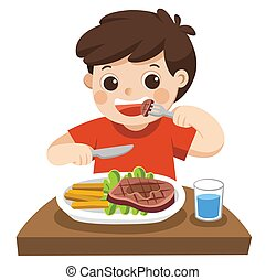 mignon, manger, garçon, légumes, lunch., bifteck